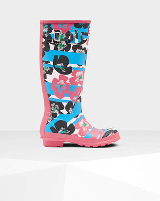 Hunter Women's Original Tall Floral Stripe Rain Boots