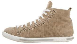 Prada Sport Perforated Suede High-Top Sneakers