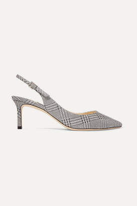 Jimmy Choo Erin 65 Glittered Prince Of Wales Checked Leather Slingback Pumps - Silver