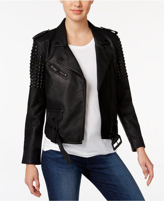 Calvin Klein Jeans Studded Faux-Leather Moto Jacket $298 thestylecure.com