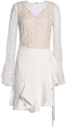 Goen.j Embroidered Tulle-Paneled Ruffled Crepe Mini Dress