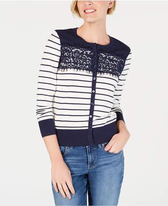 ef264f0dcfb Charter Club Petite Striped Lace-Trim Cardigan