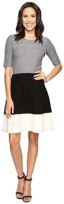 Christin Michaels Kaira Color Block Fit and Flare Sweater Dress $84 thestylecure.com