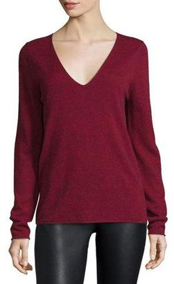 Zadig & Voltaire Melange V-Neck Pullover Sweater, Red $228 thestylecure.com