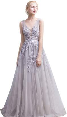 Nicefashion Women's Cheap Floral Lace Long Marine Ball Gowns Tulle New Year Eve Dress US