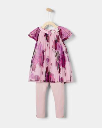 Ted Baker GALIENA Juxtapose Rose pleated top and leggings set