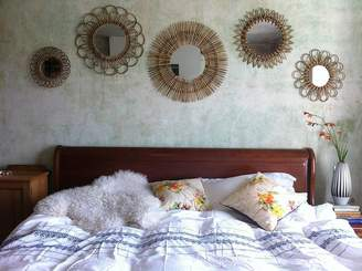 Co The Forest & Set Of Five Rattan Sunburst Mirrors