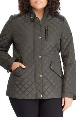 Lauren Ralph Lauren Quilted Jacket with Faux Leather Trim