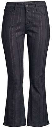AG Jeans Jodi Metallic Slim-Fit High-Rise Crop Flare Jeans