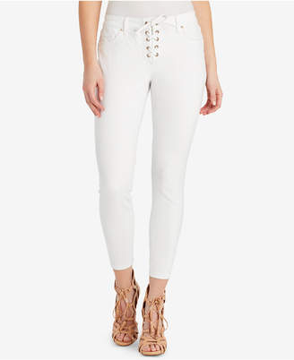 Jessica Simpson Juniors' Kiss Me Lace-Up Skinny Ankle Jeans