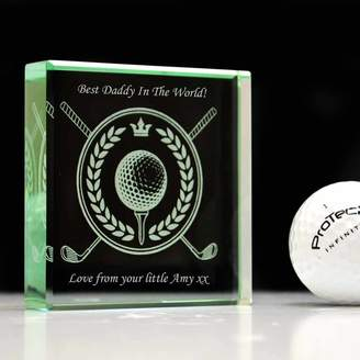 GiftsOnline4U Personalised Glass Block For Dad Golf Design
