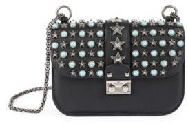 Valentino Rocklock Small Star-Studded Leather Shoulder Bag $2,795 thestylecure.com