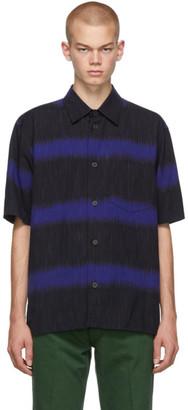 Issey Miyake Blue and Black Ikat Border Shirt