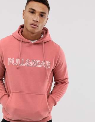 Pull&Bear logo hoodie in pink