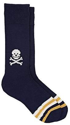 Corgi Men's Skull-Motif Cotton Mid-Calf Socks - Black