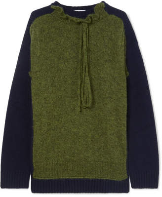 J.W.Anderson Ruffle-trimmed Two-tone Merino Wool-blend Sweater - Army green