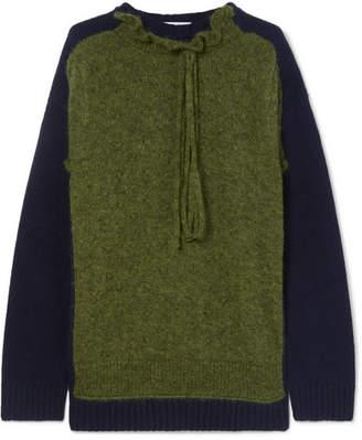 3233fbc4946d2b J.W.Anderson Ruffle-trimmed Two-tone Merino Wool-blend Sweater - Army green