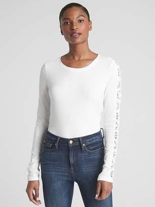 Gap Featherweight Lace-Trim Long Sleeve Crewneck T-Shirt