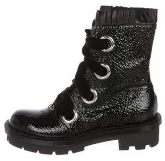 Alexander McQueen Patent Leather Round-Toe Boots