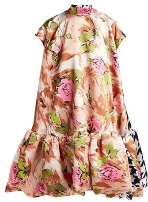 Richard Quinn - Contrasting Print A Line Satin Dress - Womens - Multi