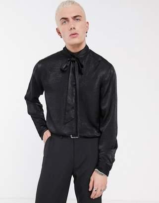 Asos Design DESIGN regular fit satin funnel neck shirt with tie detail