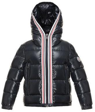 Moncler Maubic Hooded Striped-Trim Puffer Jacket, Navy, Size 8-14 $535 thestylecure.com