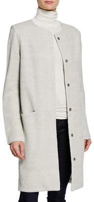 Neiman Marcus Majestic Paris for Button-Front Textured Linen Topper Jacket