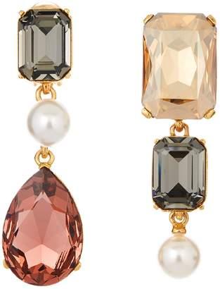 Oscar de la Renta Bold Crystal Clip-On Earrings