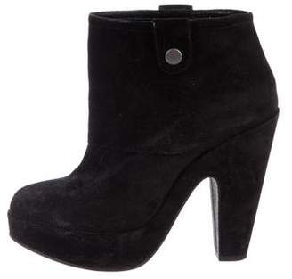 Robert Clergerie Suede Round-Toe Ankle Boots