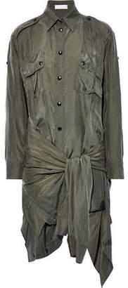 Faith Connexion Tie-front Washed-silk Mini Shirt Dress