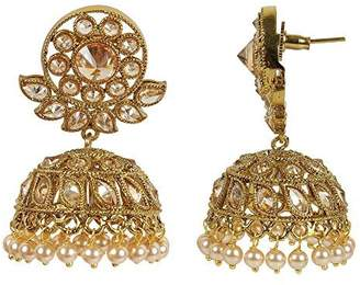 Crystal Pearl MUCHMORE Womens Fashion Ethnic Style Crystal & Pearl Stone Polki Indian Earrings Bollywood Jewelry