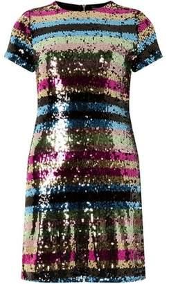 Dorothy Perkins Womens Multi Colour Premium Sequin Embellished Striped Shift Dress