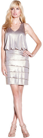Laundry by Shelli Segal Metallic Tiered Blouson Dress