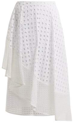 Sportmax Nabulus Eyelet Lace Asymmetric Skirt - Womens - White
