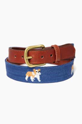 Smathers and Branson Exclusive Navy Bulldog Needlepoint Belt