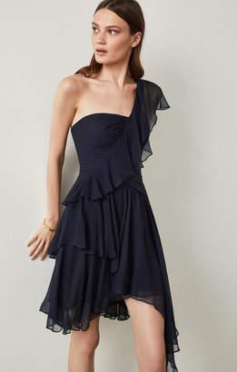 BCBGMAXAZRIA Asymmetrical Silk Chiffon Dress