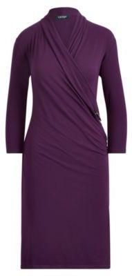Ralph Lauren Jersey Wrap Dress Dark Mulberry Xs