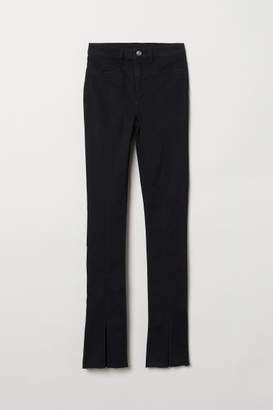 H&M Twill Pants with Slits - Black