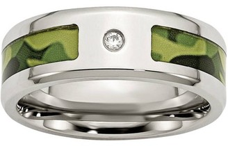 Primal Steel Primal Steel Stainless Steel Polished w/ CZ Printed Green Camo Under Rubber Band