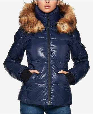 S13 Kylie Faux-Fur-Trim Hooded Down Puffer Coat