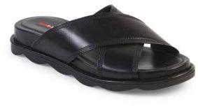 Prada Leather Crisscross Slides