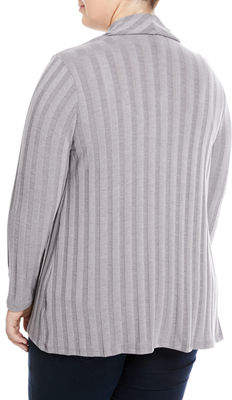 Bobeau Plus Simone Rib-Knit Cardigan, Plus Size