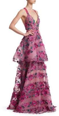 Marchesa Floral Embroidered Tiered Mesh Gown