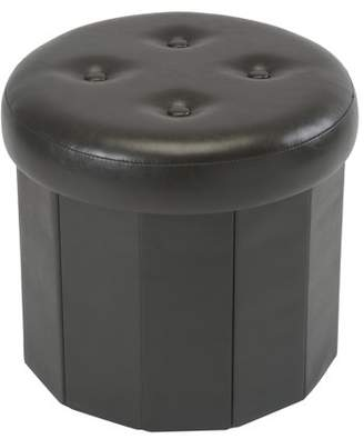 Simplify Round Folding Faux Leather Ottoman-Choco 15d.+ 4 Buttons on Top