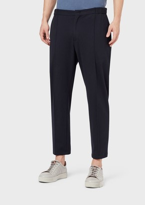 Giorgio Armani Plain-Colored Jersey Pants With Raised Crease Line