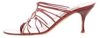 Alberta Ferretti Leather Mid-Heel Sandal