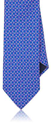 Barneys New York MEN'S OMBRÉ-ELLIPSE-PRINT SILK FAILLE NECKTIE - BLUE
