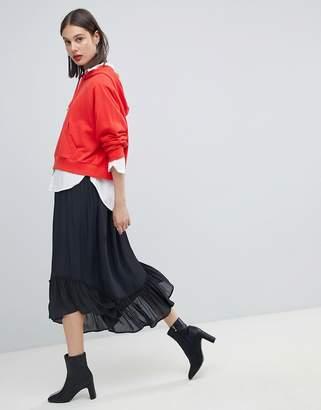 Esprit Frill Hem Midi Skirt