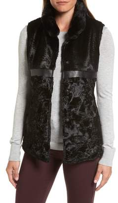 Via Spiga Reversible Faux Fur & Faux Leather Vest
