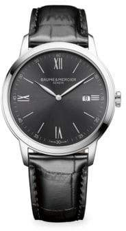 Baume & Mercier Classima 10415 Slate Gray, Stainless Steel& Alligator Watch